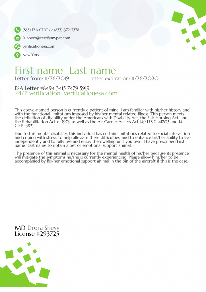 Esa Letter For Airlines Certifymypet Com