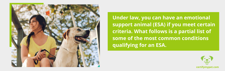 Under law, you can have an emotional support animal (ESA) if you meet certain criteria. What follows is a partial list of some of the most common conditions qualifying for an ESA.