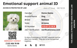 Emotional Support ID Front
