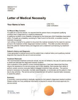 Service Dog Letter